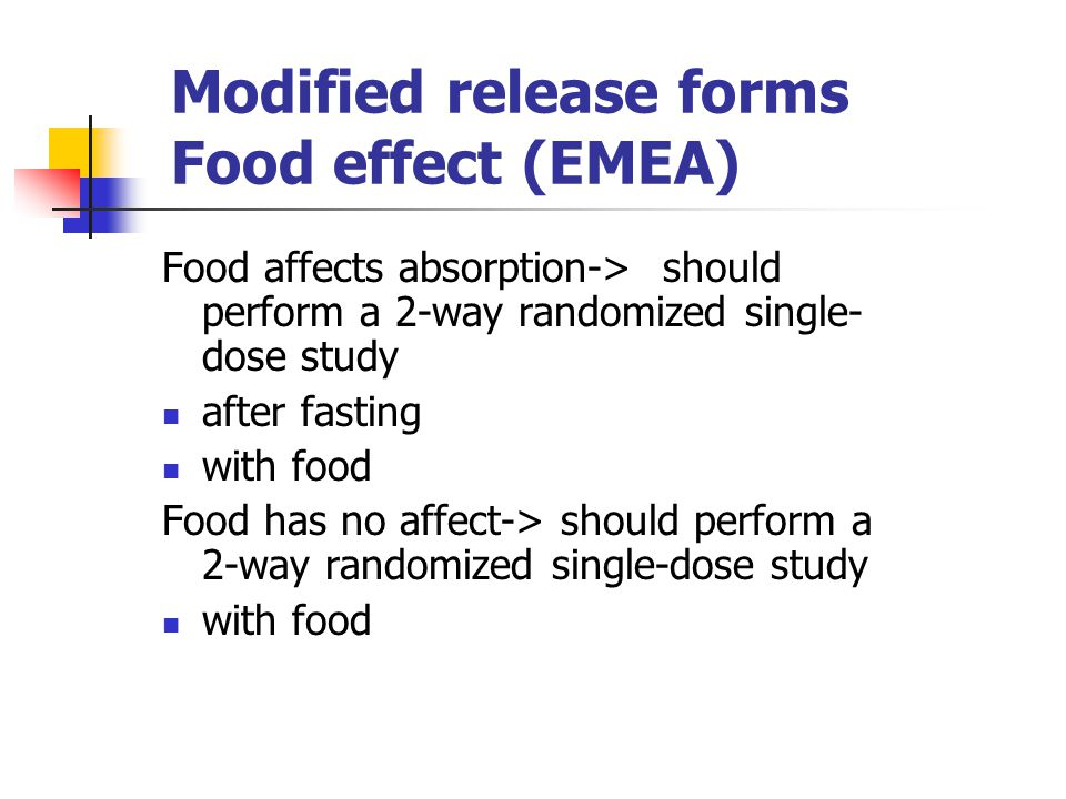 Modified release forms Food effect (EMEA)
