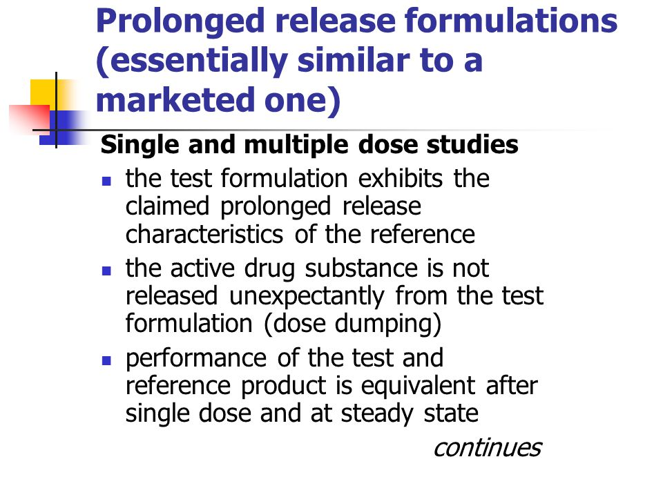 Prolonged release formulations (essentially similar to a marketed one)