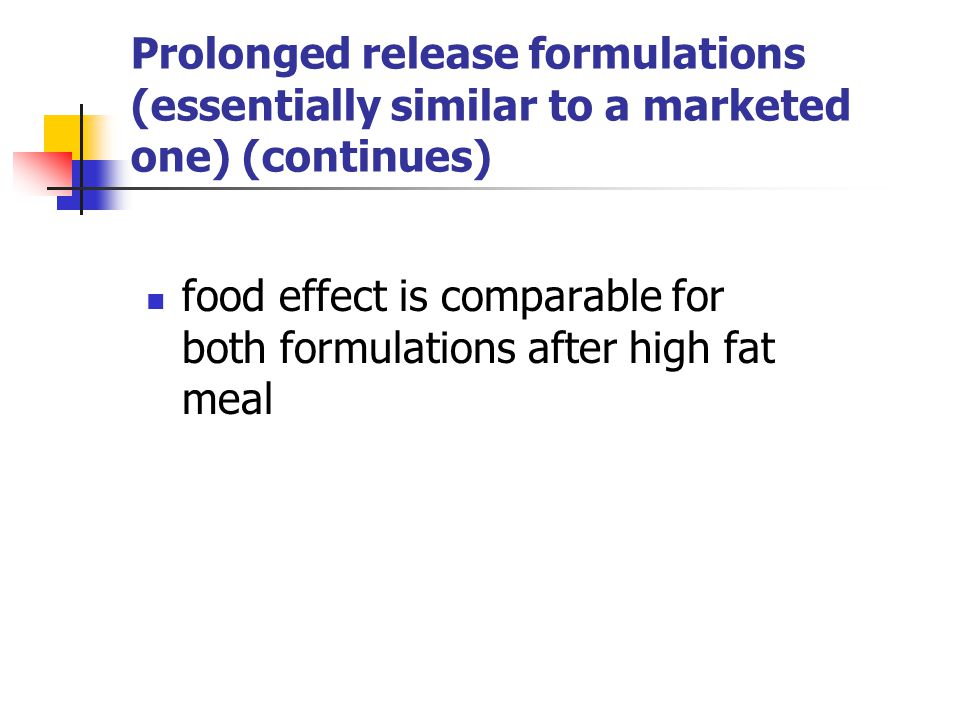 Prolonged release formulations (essentially similar to a marketed one) (continues)