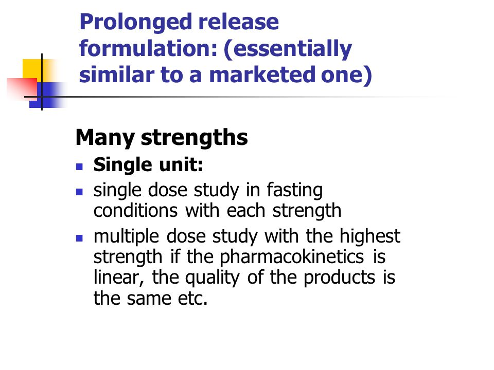 Prolonged release formulation: (essentially similar to a marketed one)