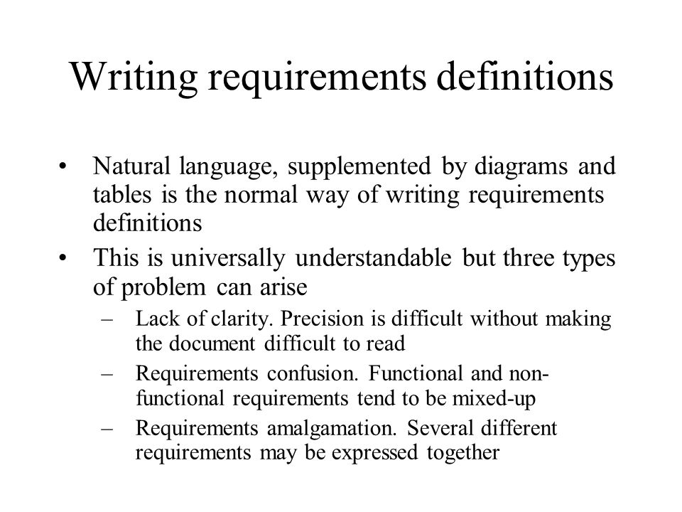 Writing requirements definitions