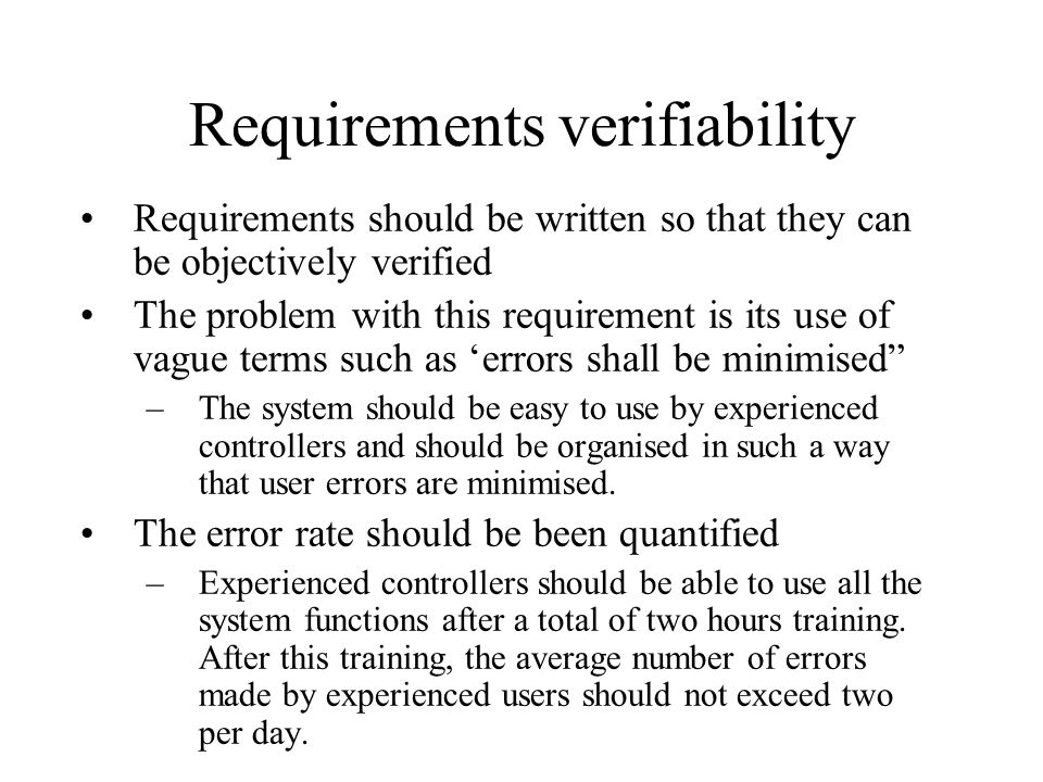 Requirements verifiability