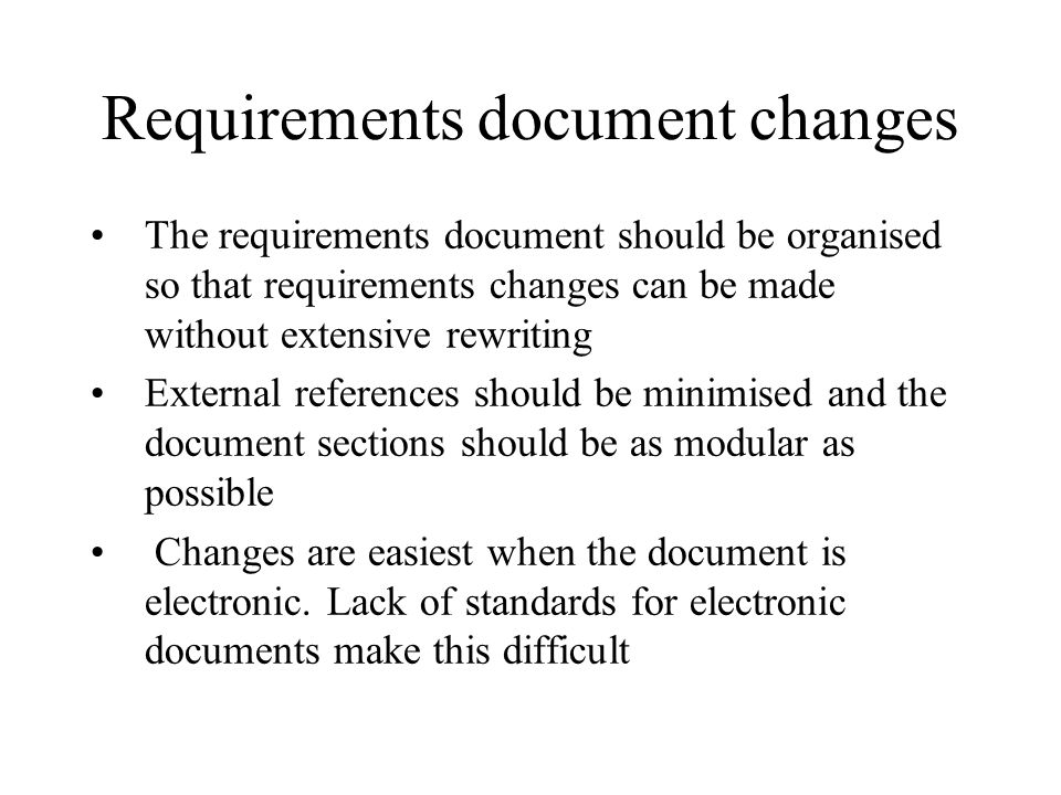 Requirements document changes