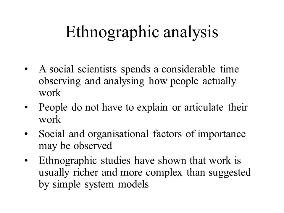 Ethnographic analysis