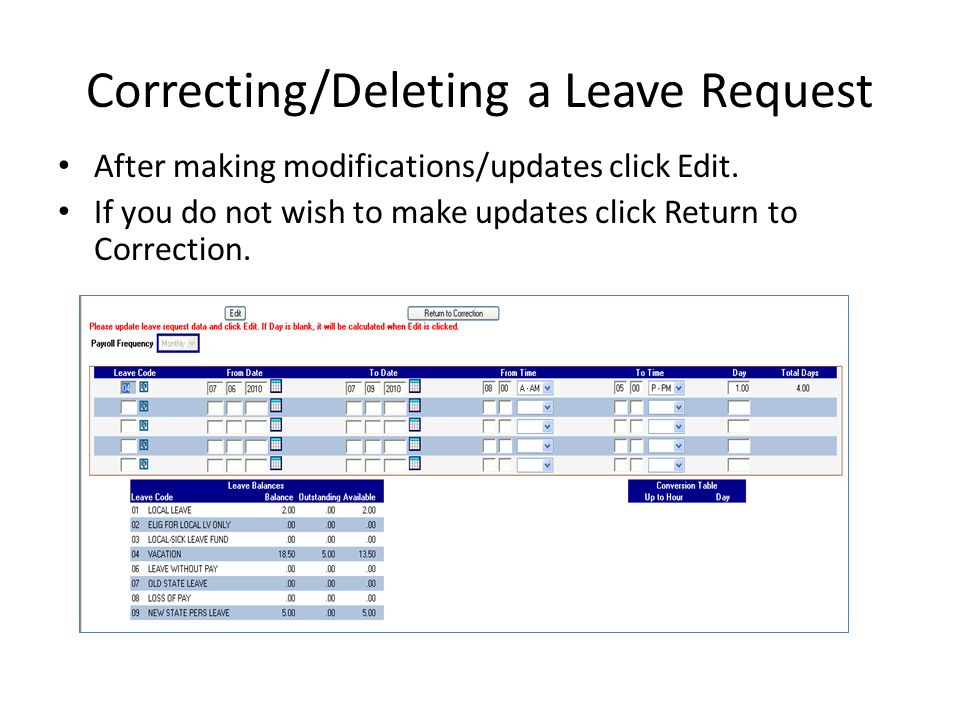 Correcting/Deleting a Leave Request
