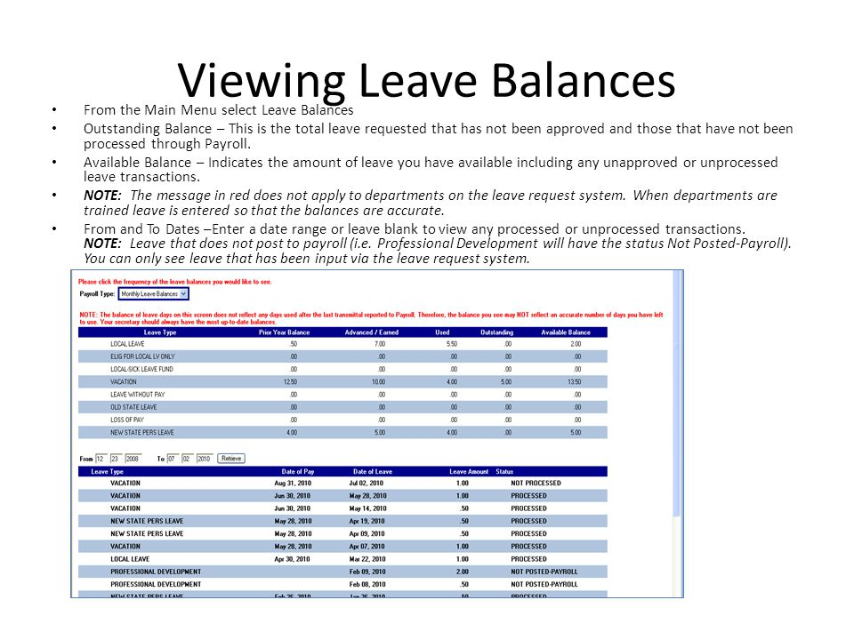 Viewing Leave Balances