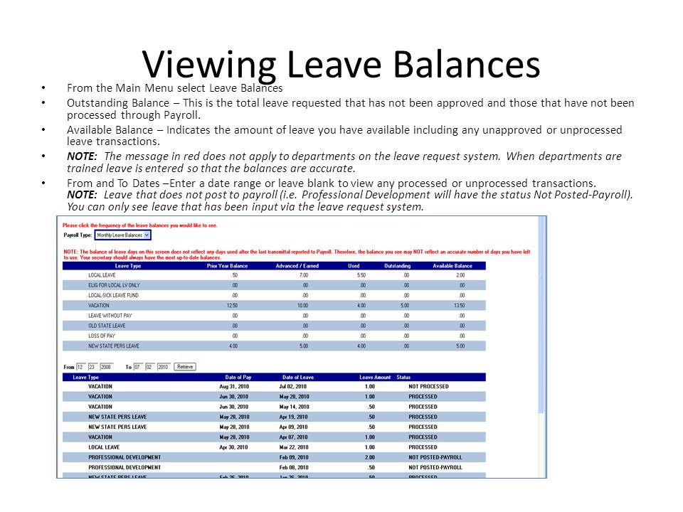 Viewing Leave Balances
