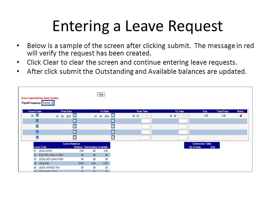 Entering a Leave Request