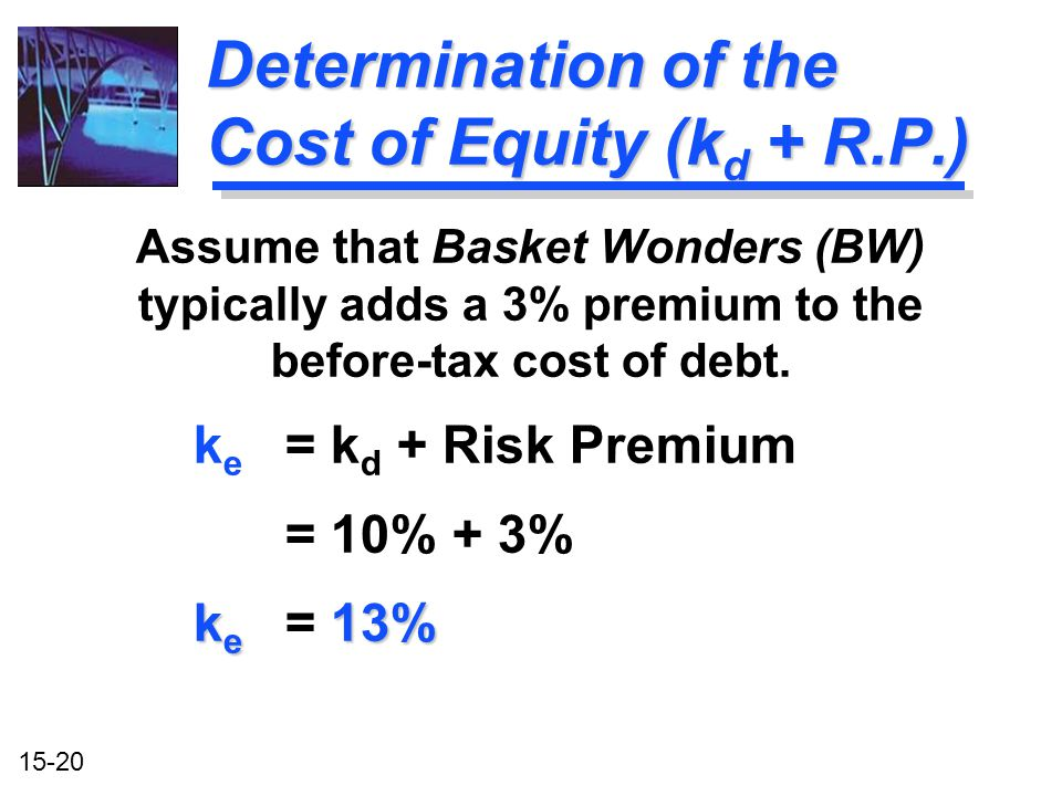 Determination of the Cost of Equity (kd + R.P.)