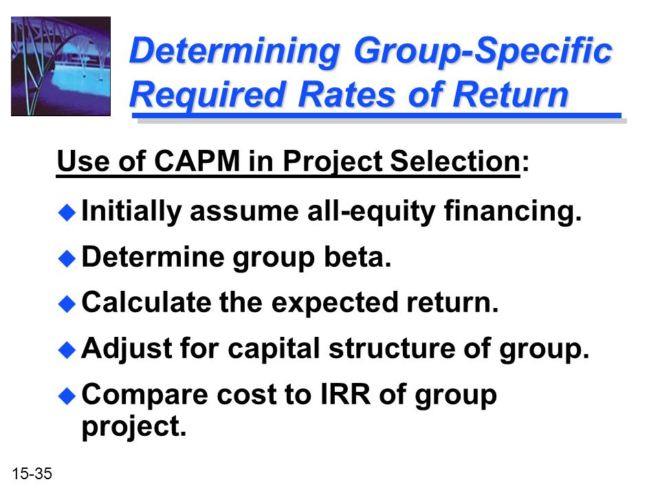 Determining Group-Specific Required Rates of Return