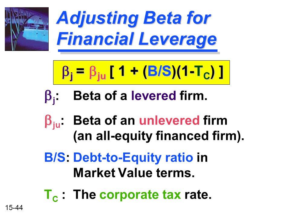 Adjusting Beta for Financial Leverage