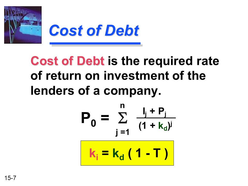 Cost of Debt Cost of Debt is the required rate of return on investment of the lenders of a company.