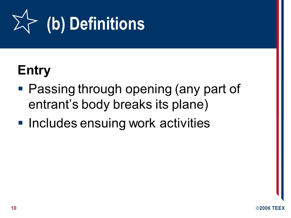 (b) Definitions Entry.