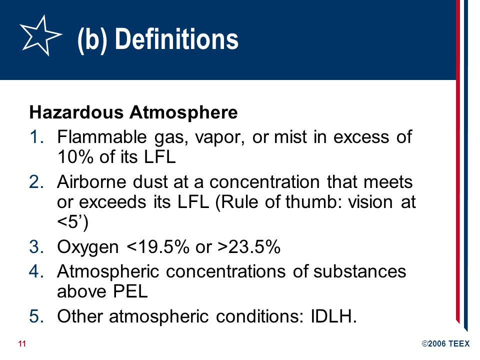 (b) Definitions Hazardous Atmosphere