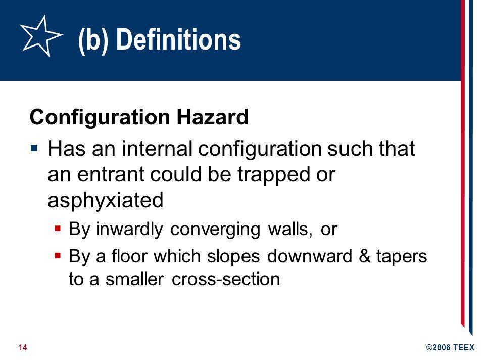 (b) Definitions Configuration Hazard