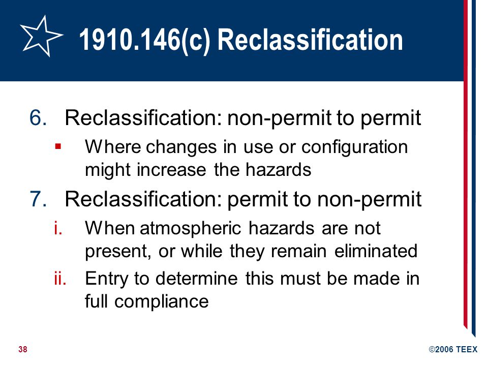 1910.146(c) Reclassification Reclassification: non-permit to permit