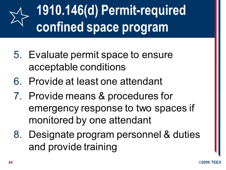 (d) Permit-required confined space program