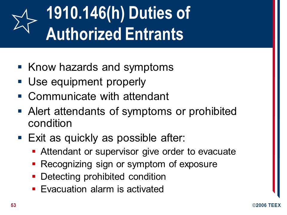 (h) Duties of Authorized Entrants