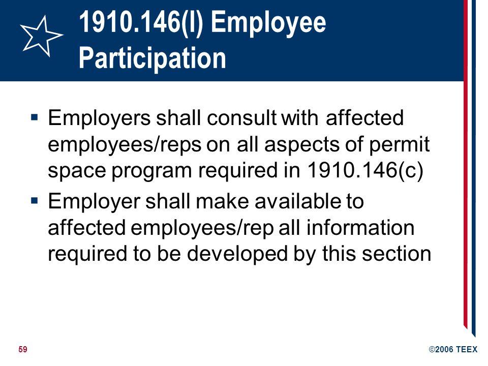 1910.146(l) Employee Participation