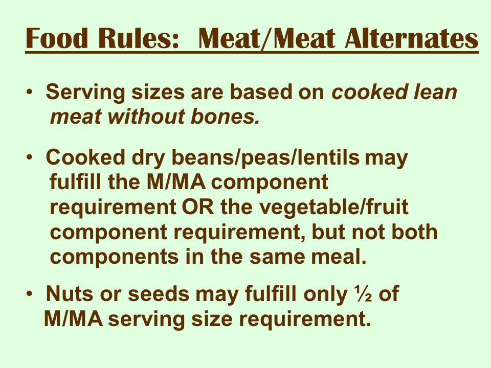 Food Rules: Meat/Meat Alternates