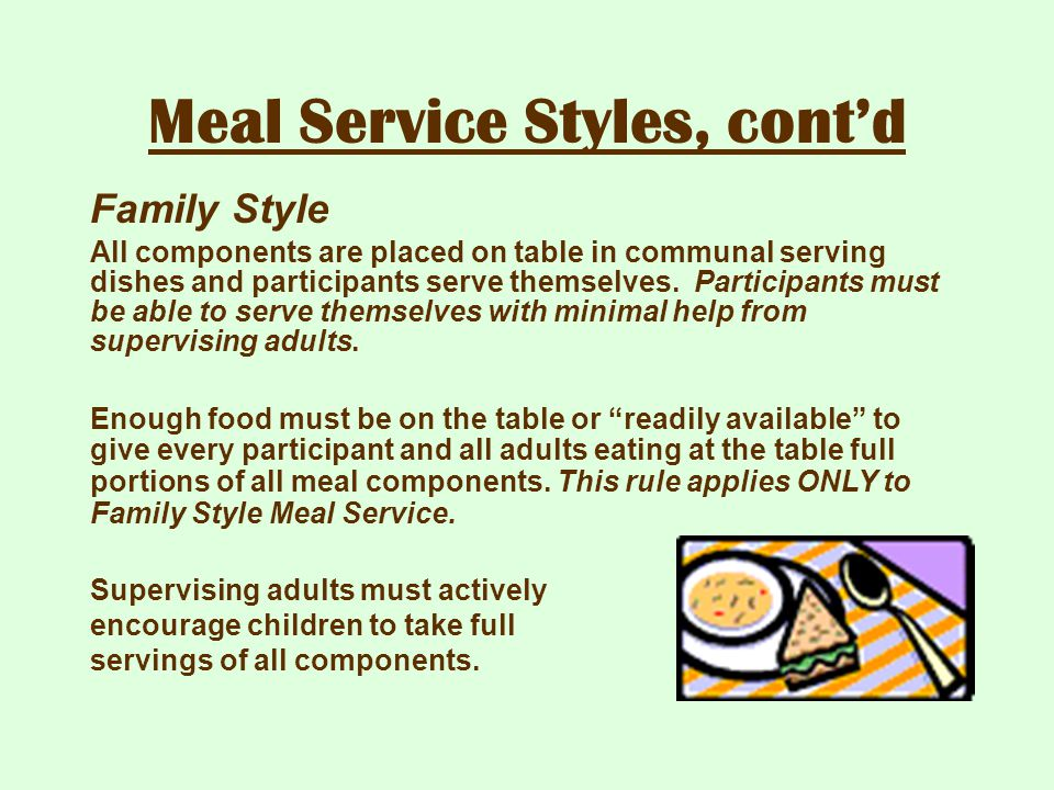 Meal Service Styles, cont'd