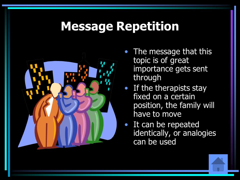 Message Repetition The message that this topic is of great importance gets sent through.