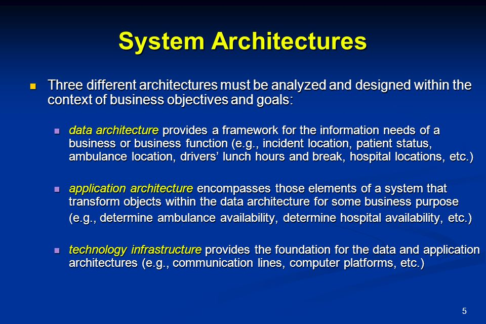 System Architectures Three different architectures must be analyzed and designed within the context of business objectives and goals: