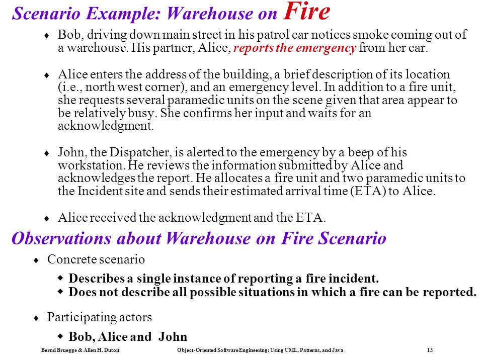 Scenario Example: Warehouse on Fire