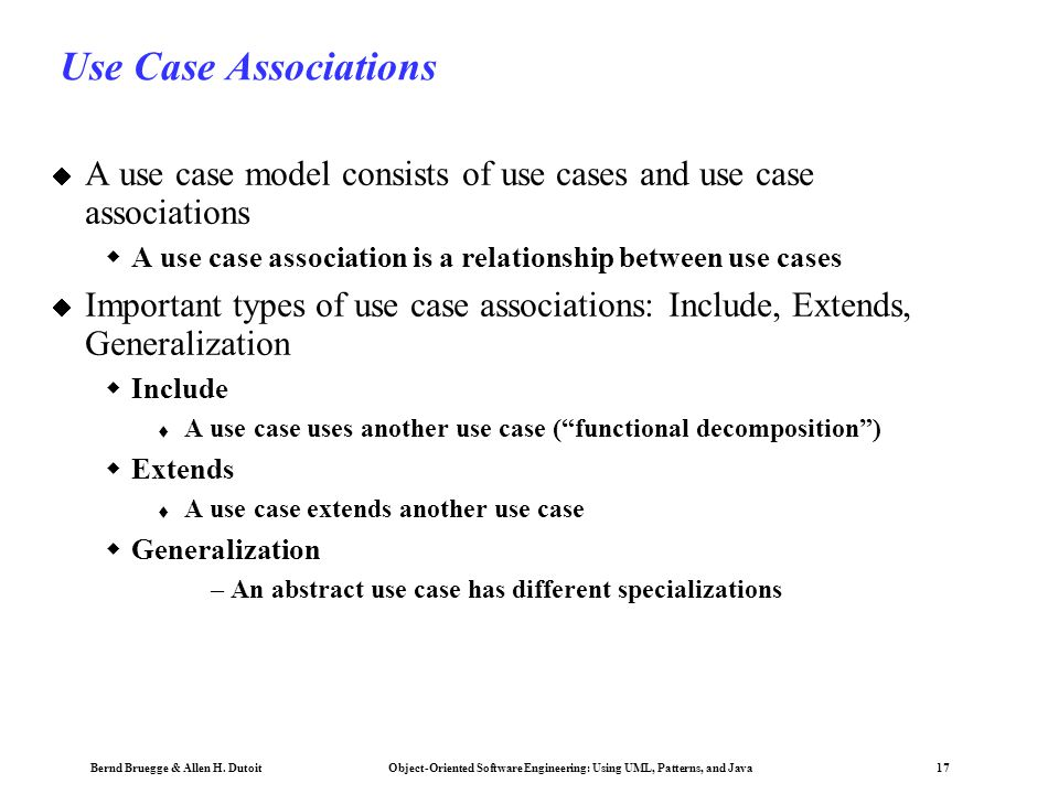 Use Case Associations A use case model consists of use cases and use case associations. A use case association is a relationship between use cases.