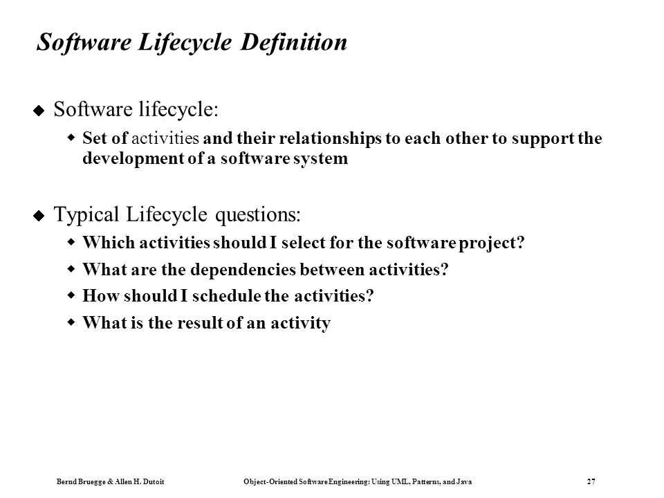 Software Lifecycle Definition