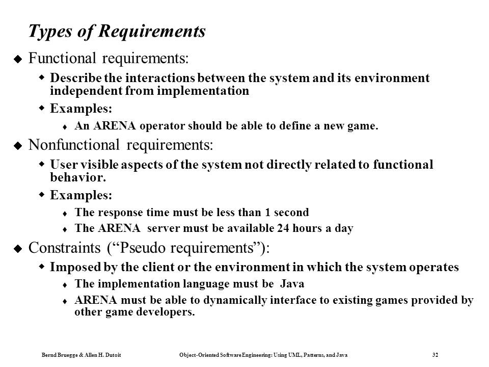 Types of Requirements Functional requirements: