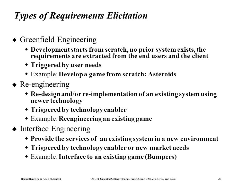 Types of Requirements Elicitation