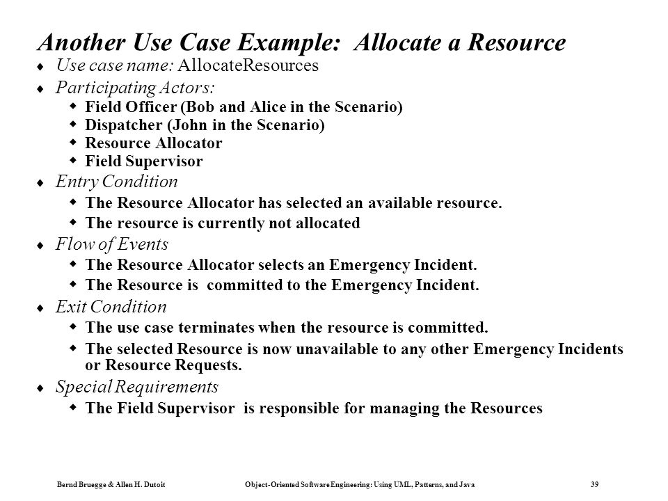 Another Use Case Example: Allocate a Resource