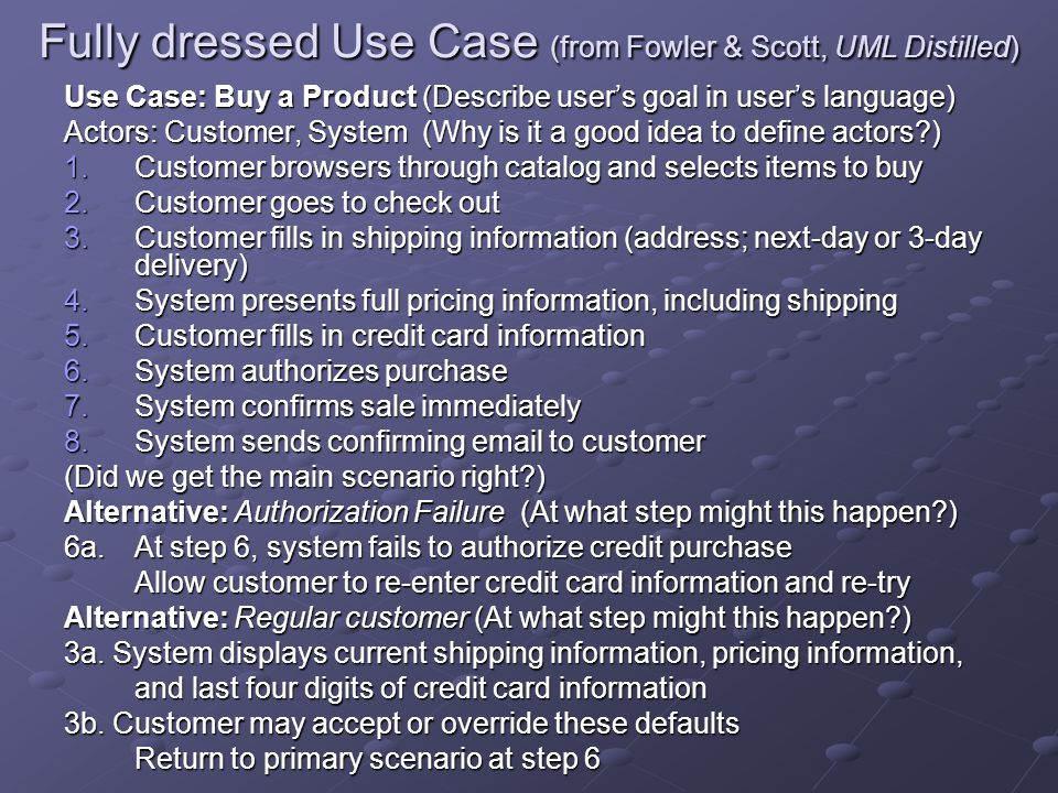 Fully dressed Use Case (from Fowler & Scott, UML Distilled)