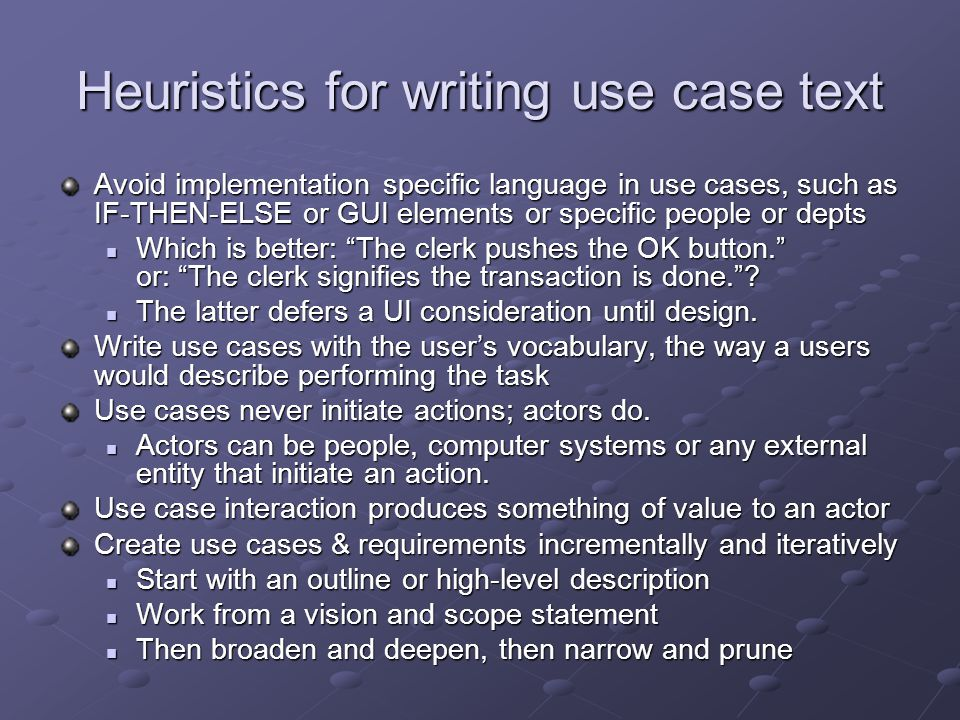 Heuristics for writing use case text