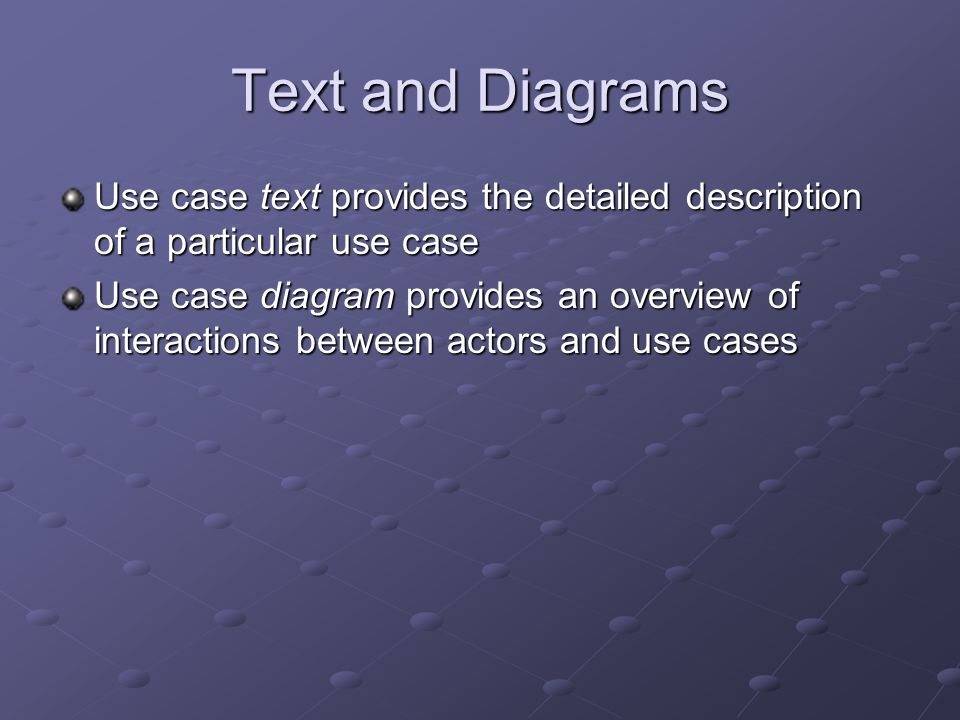 Text and Diagrams Use case text provides the detailed description of a particular use case.