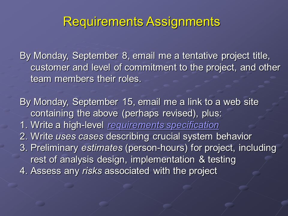 Requirements Assignments