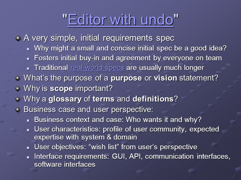 Editor with undo A very simple, initial requirements spec
