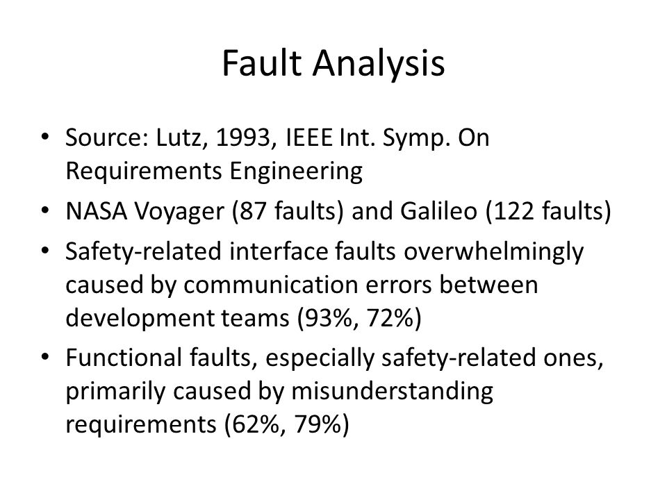 Fault Analysis Source: Lutz, 1993, IEEE Int. Symp. On Requirements Engineering. NASA Voyager (87 faults) and Galileo (122 faults)