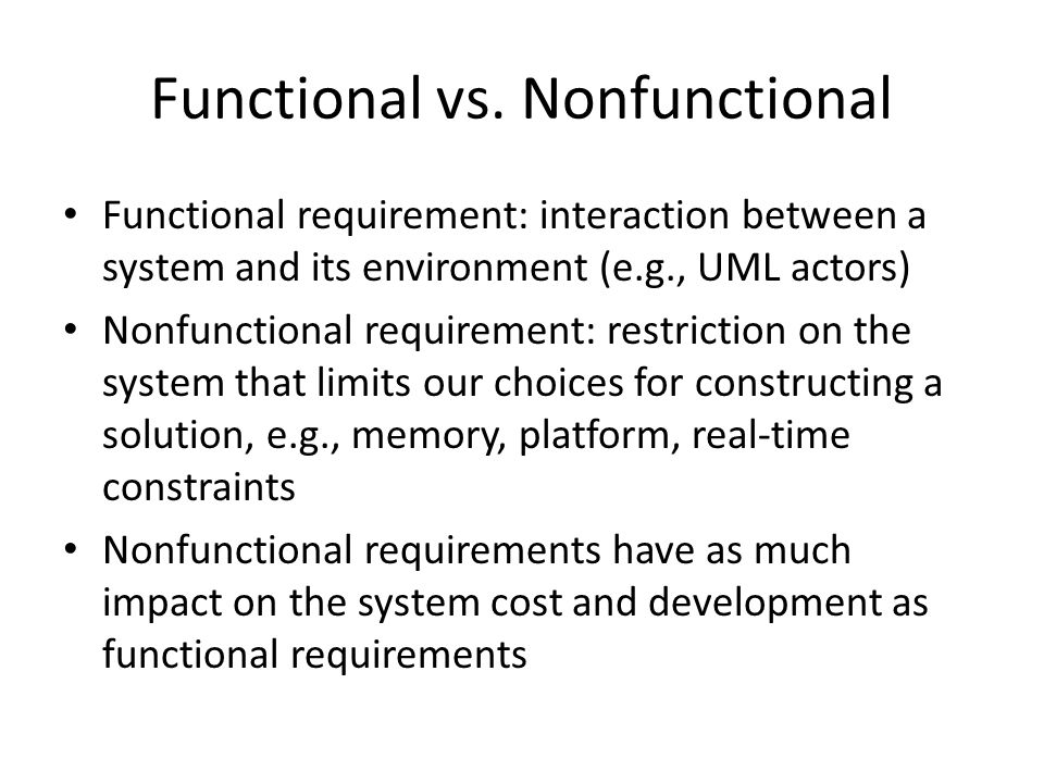 Functional vs. Nonfunctional