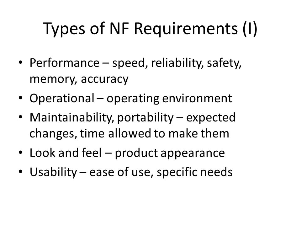 Types of NF Requirements (I)