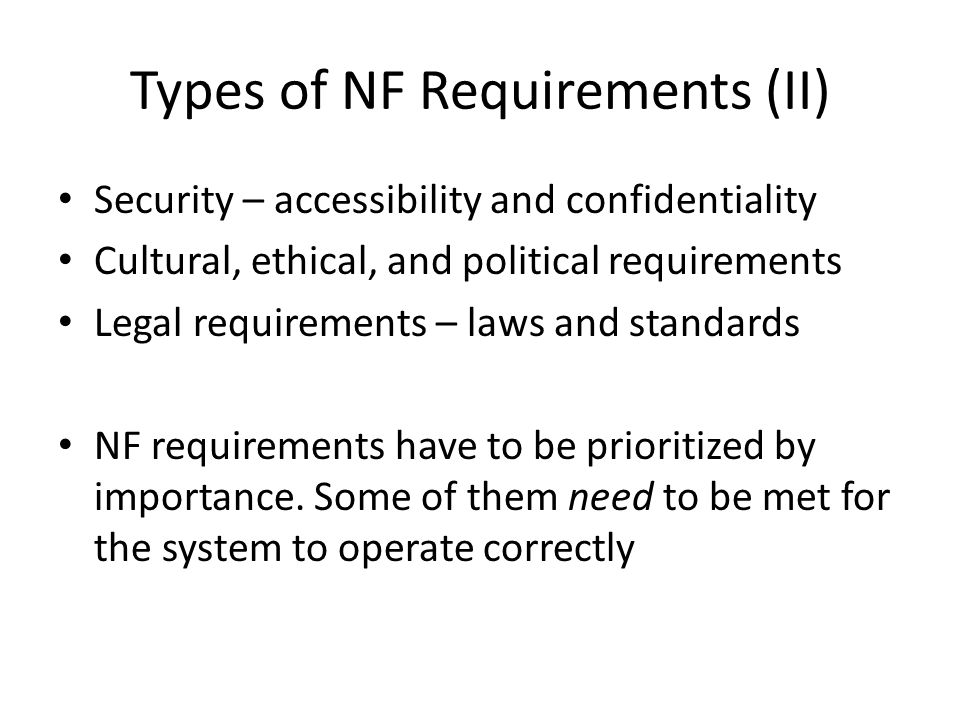 Types of NF Requirements (II)