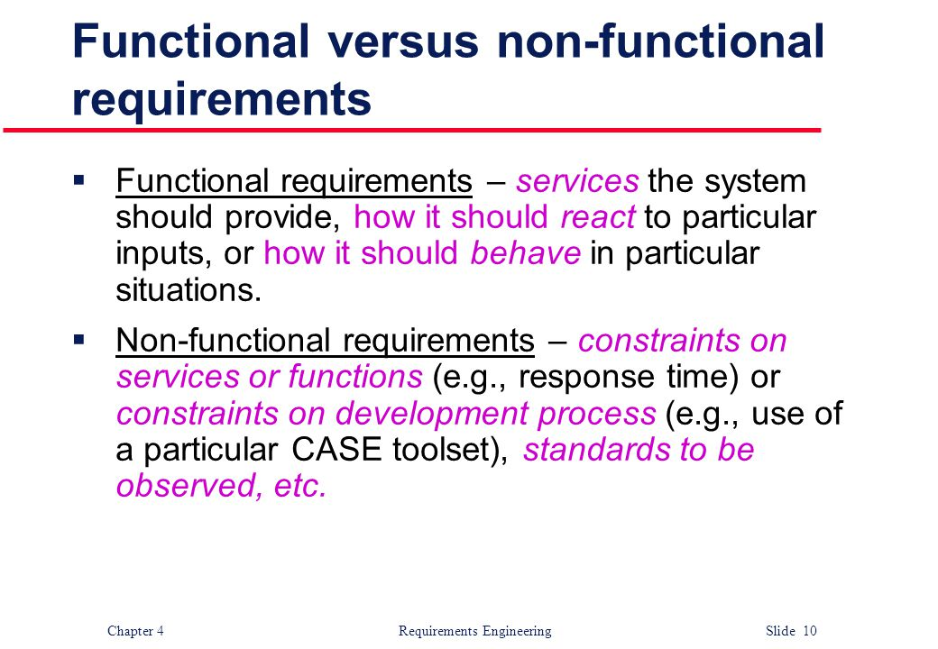 Functional versus non-functional requirements
