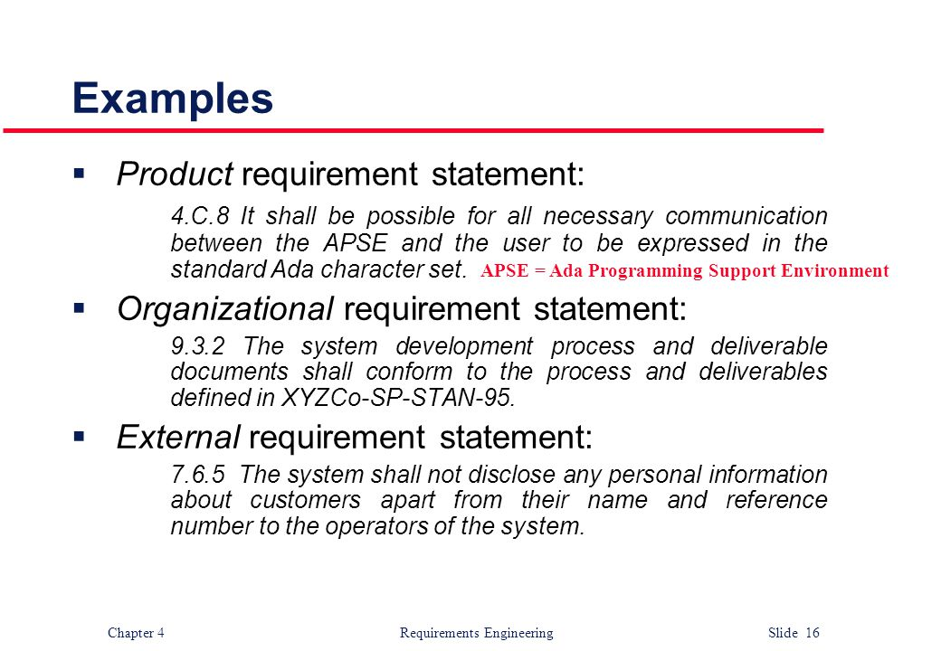 Examples Product requirement statement: