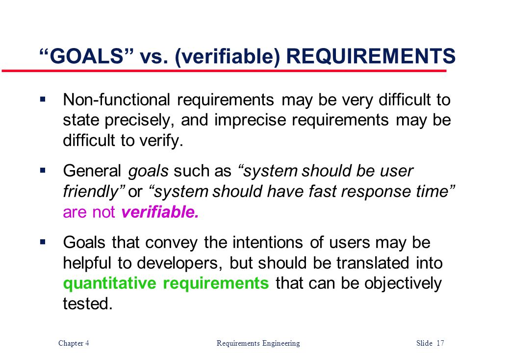 GOALS vs. (verifiable) REQUIREMENTS