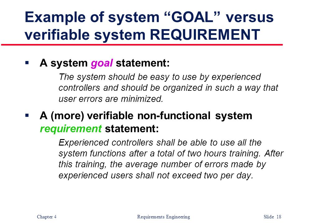 Example of system GOAL versus verifiable system REQUIREMENT