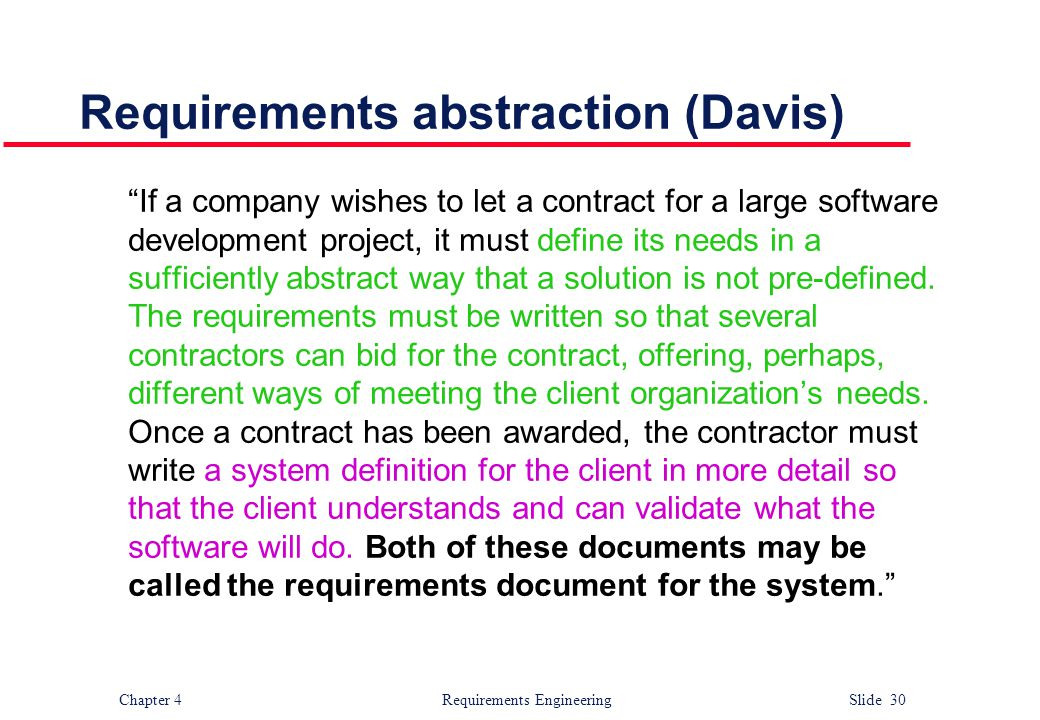 Requirements abstraction (Davis)