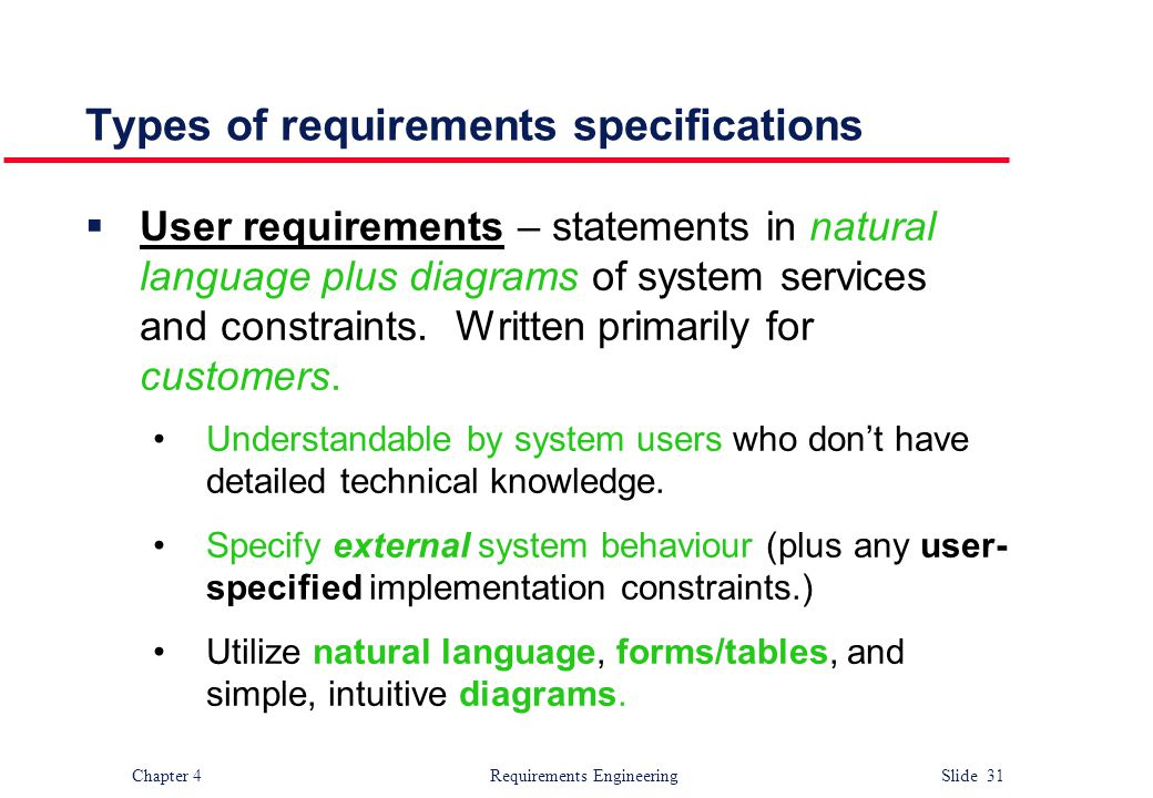 Types of requirements specifications
