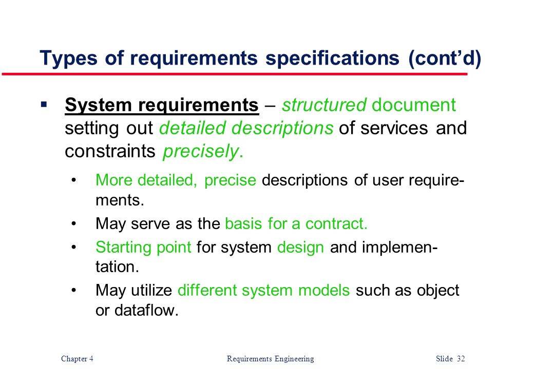 Types of requirements specifications (cont'd)