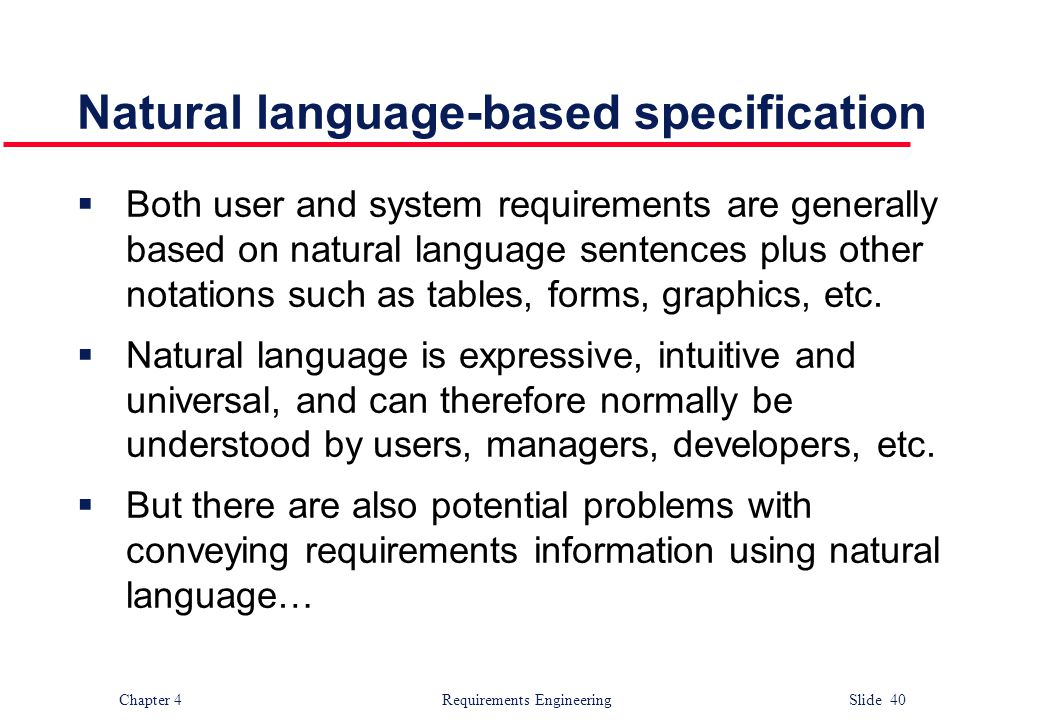 Natural language-based specification